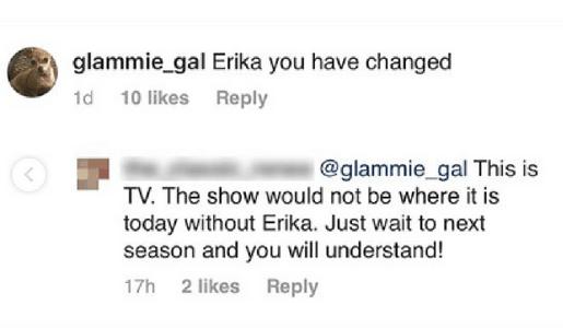 Erika Girardi Instagram comment