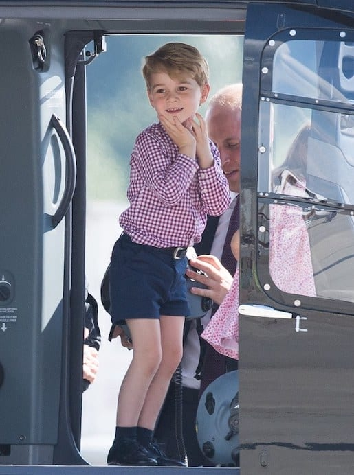 Prince George in a helicoptor