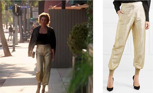 lisa rinna gold pants rhobh