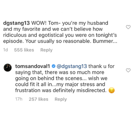 tom sandoval responds to bad behavior and blames editing