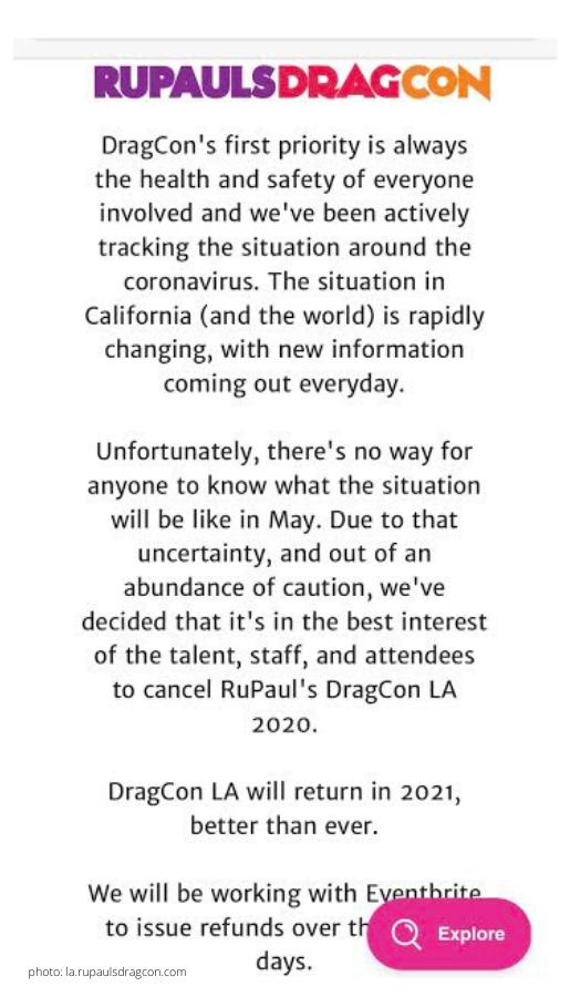 rupauls drag race la 2020 cancelled coronavirus official statement dragcon