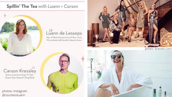 luann de lesseps and carson kressley talk about the rhony cast ramona singer dorinda medley leah mcsweeney sonja morgan real housewives of new york