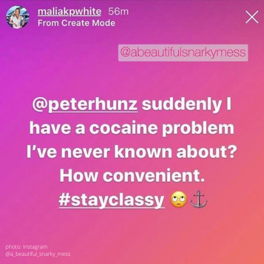 malia white claps back at peter hunziker cocaine use accusation