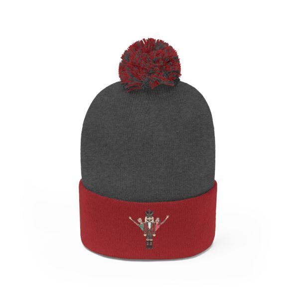nucracker beanie grey and red
